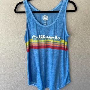 Home Free California Graphic Burn Out Tank Top L